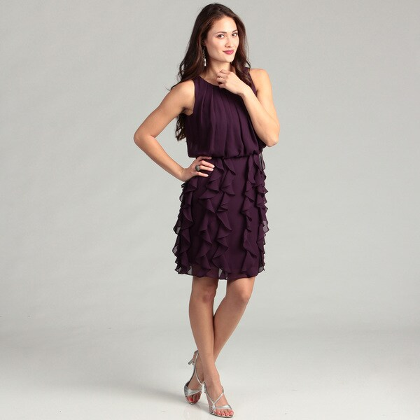 Jessica Howard Women's Eggplant Ruffle Dress