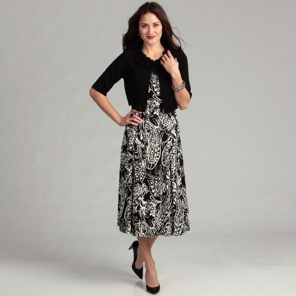Jessica Howard Women's Black/ Ivory 2-piece Dress