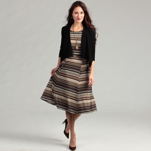 Jessica Howard Women's Black/ Brown Zig-zag Dress