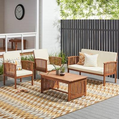 Carolina brown and white four piece outdoor acacia sofa set