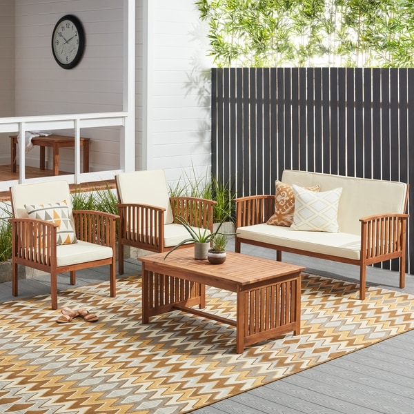Shop Carolina 4 Piece Outdoor Acacia Sofa Set By Christopher Knight