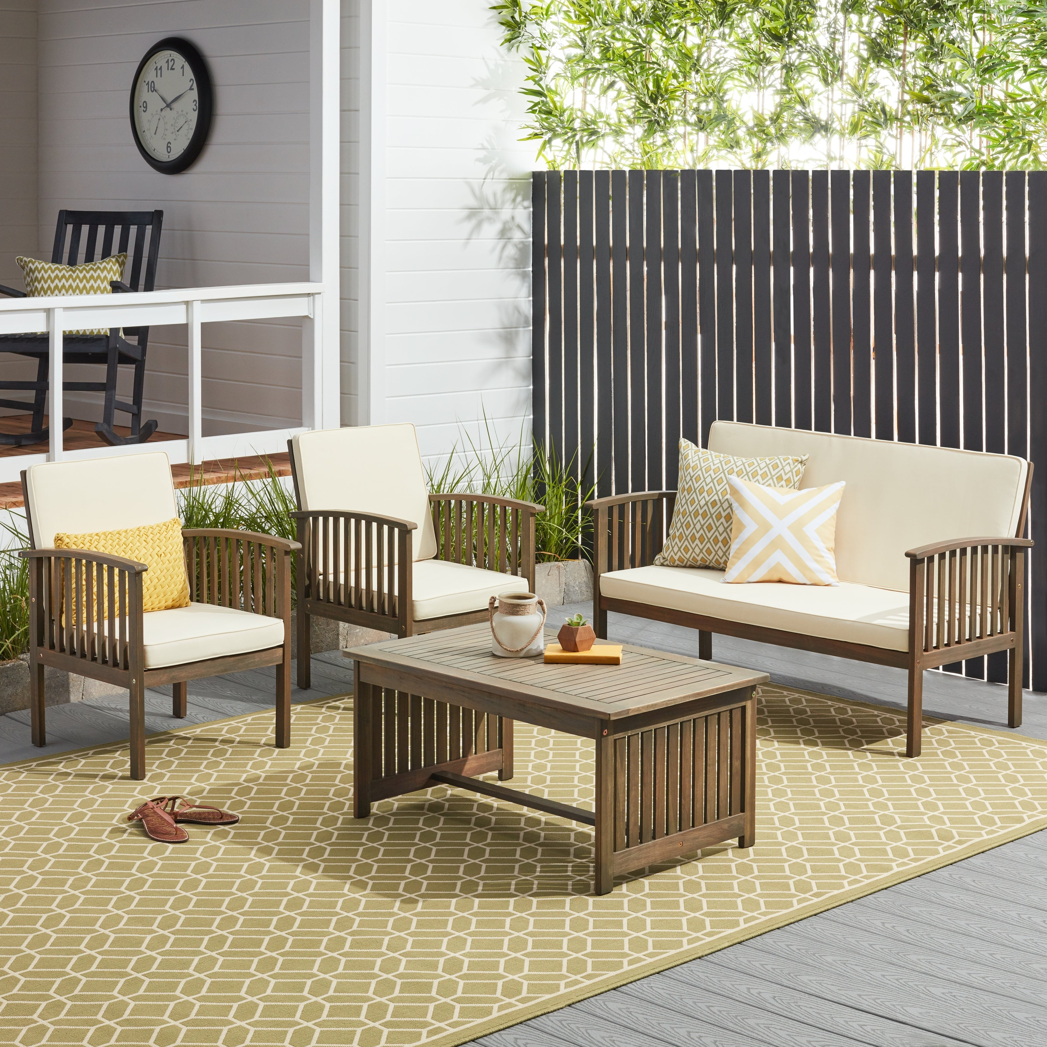 4PCS Patio Set Sofa Coffee Table Chairs Acacia Wood Outdoor Garden Decorate Home