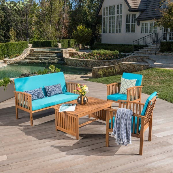 Remarkable Shop Carolina 4 Piece Outdoor Acacia Sofa Set By Christopher Caraccident5 Cool Chair Designs And Ideas Caraccident5Info