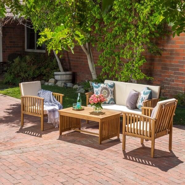 Carolina Piece Outdoor Acacia Sofa Set By Christopher Knight