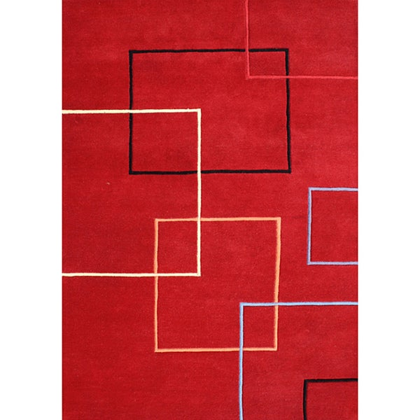 Alliyah Handmade Andy Red New Zealand Blend Wool Area Rug - 9' x 12'