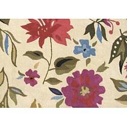 Alliyah Handmade Cream New Zealand Blend Wool Rug (6' x 6') - Thumbnail 1