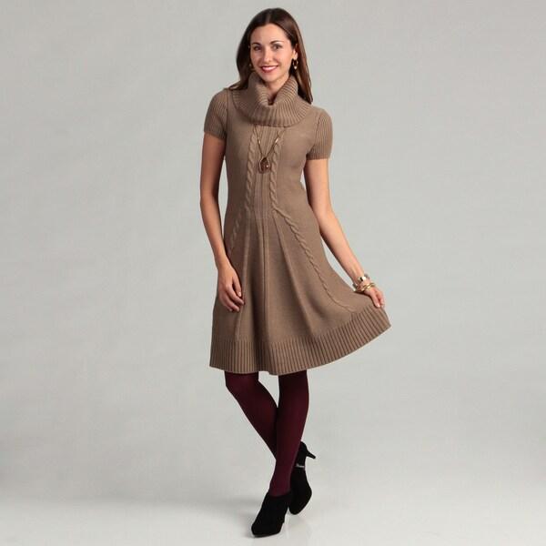 Jessica Howard Women's Ribbed Cowl Neck Sweater Dress
