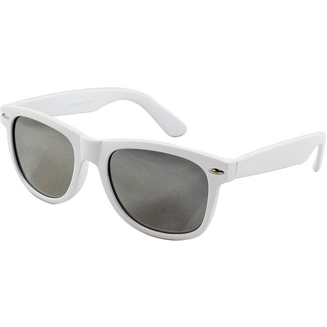 Unisex White Plastic Fashion Sunglasses