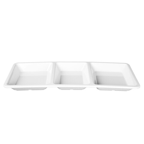Royal White Collection Rectangular 3-section Compartment Tray