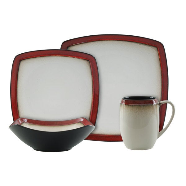 Gibson Bustmante 16-piece Square Dinnerware Set