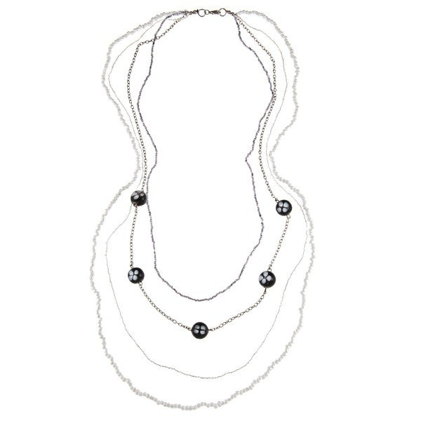 Black and White Multistrand Beaded Necklace (India)