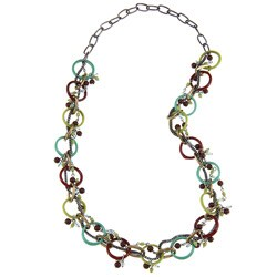 Handmade Intertwined Glass Rings Beaded Necklace (India)