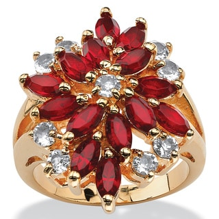 Red Crystal Flower Cocktail Ring with 14k Gold Overlay