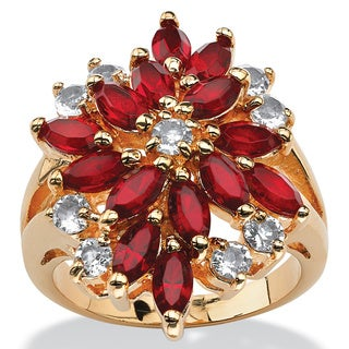18k Gold-plated Red Crystal Flower Made with Swarovski Elements Cluster Cocktail Ring