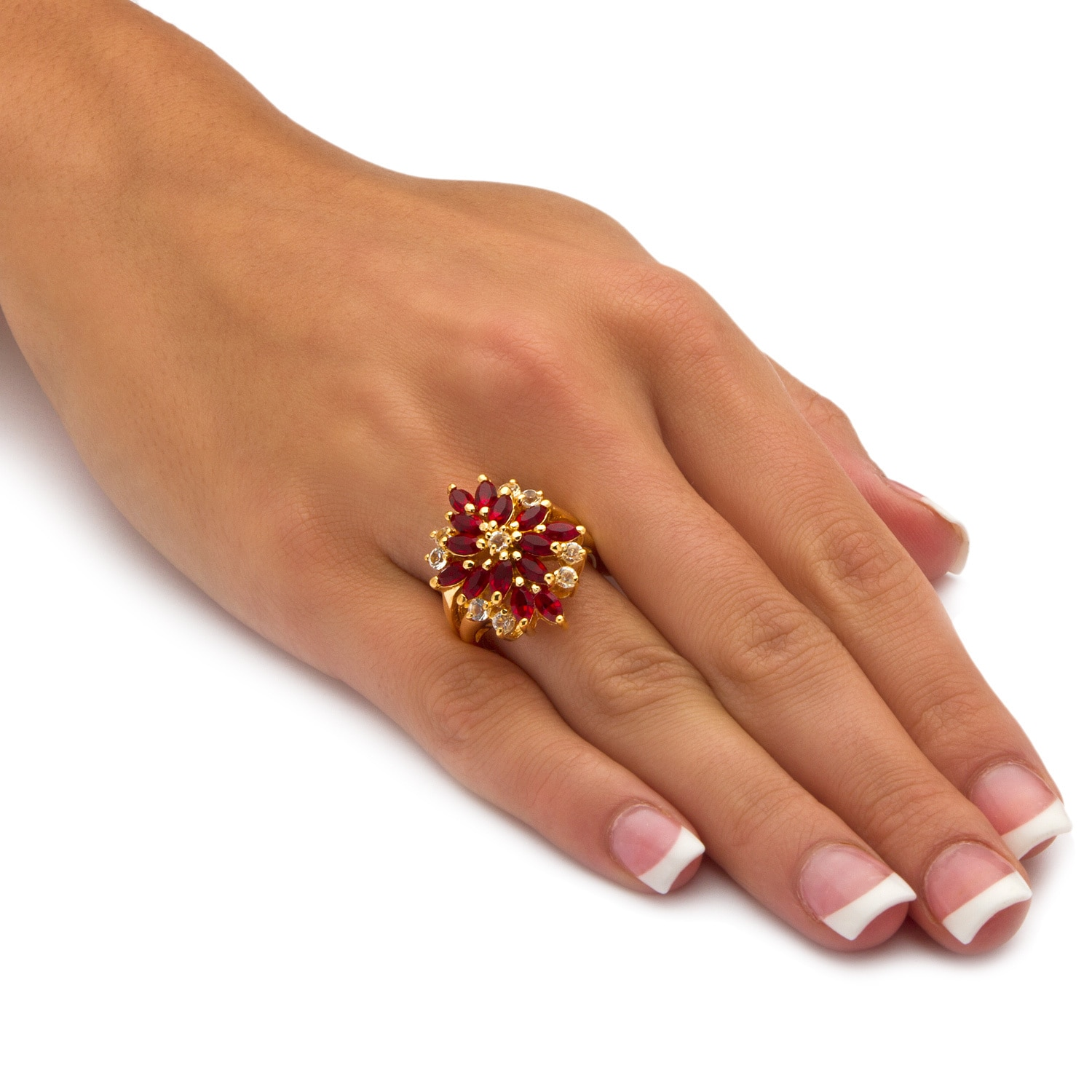 18K Yellow Gold Plated Made With Swarovski Crystal Studded Colorful Flower Ring