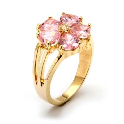4.00 TCW Heart-Shaped Pink Cubic Zirconia 14k Yellow Gold-Plated Flower-Shaped Ring Glam C - Thumbnail 1