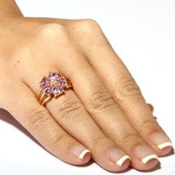 4.00 TCW Heart-Shaped Pink Cubic Zirconia 14k Yellow Gold-Plated Flower-Shaped Ring Glam C - Thumbnail 2