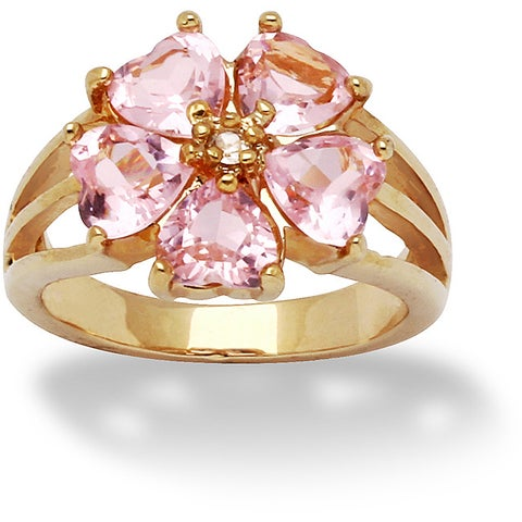 Yellow Gold-plated Pink Cubic Zirconia Flower Petals Ring - White