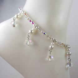 Clear AB Rectangle Crystal and Pearl Jewelry Set - Thumbnail 1