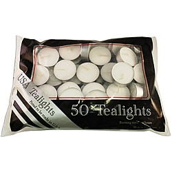 USA White Unscented Tealight Candles (Pack of 50)