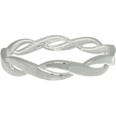 Silver Plated Elegant Weaved Bangle Bracelet