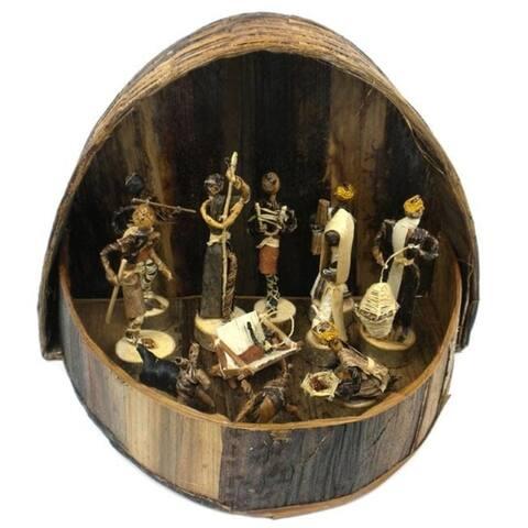 Handmade Banana Fiber Arched Nativity Set (Kenya)