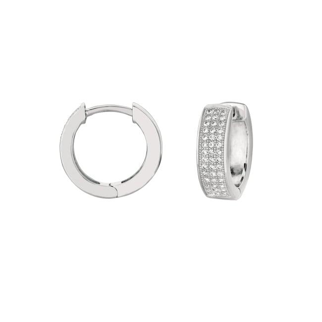 Sterling Silver Micro-set CZ endless Shape Hoop Earring