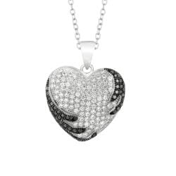 Sterling Silver Micro-set CZ Heart Pendant with Chain