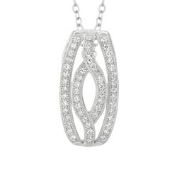 Sterling Silver Micro-set CZ Navette Pendant with Chain
