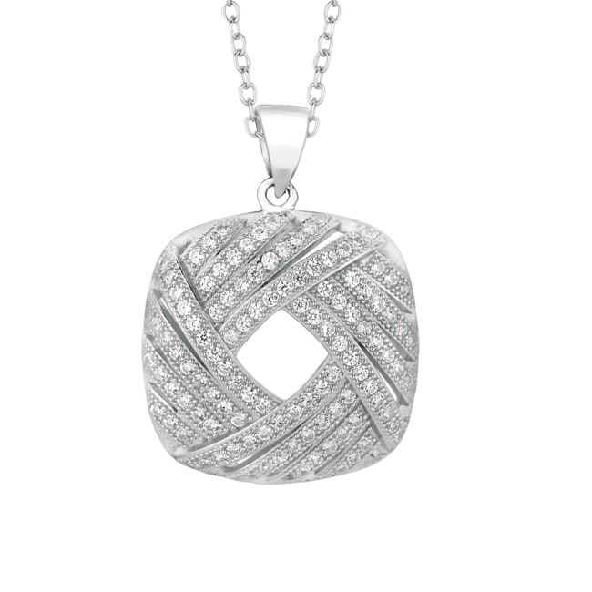 Sterling Silver Micro-set CZ Square Pendant with Chain