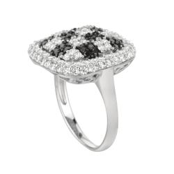 Sterling Silver Clear and Black Cubic Zirconia Checkered Fashion Ring - Thumbnail 1