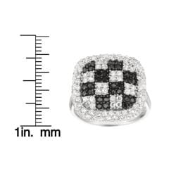 Sterling Silver Clear and Black Cubic Zirconia Checkered Fashion Ring - Thumbnail 2