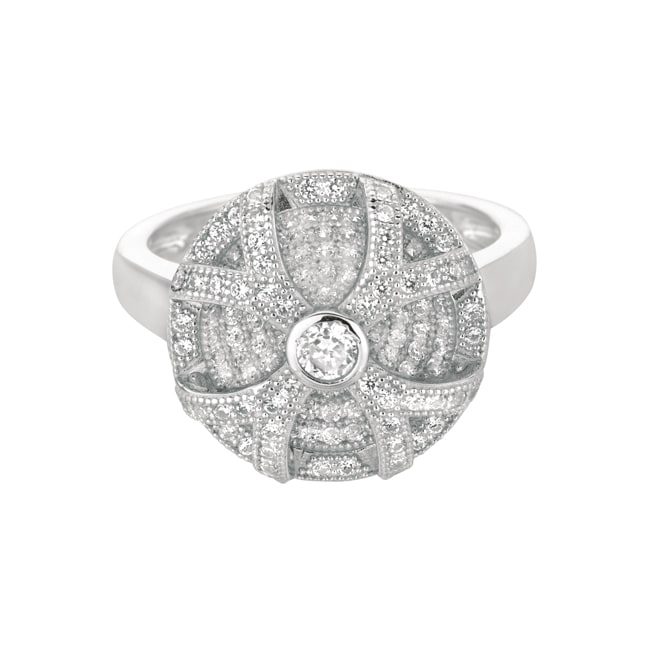 Sterling Silver Clear Cubic Zirconia Round Fashion Ring