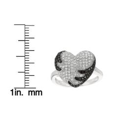Sterling Silver White and Black Cubic Zirconia Heart Fashion Ring - Thumbnail 2