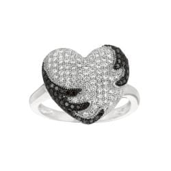 Sterling Silver White and Black Cubic Zirconia Heart Fashion Ring