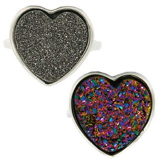 Pearlz Ocean Druzy Heart Ring (More options available)