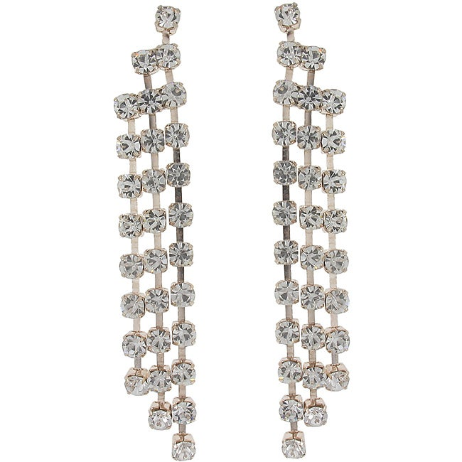 Roman Rosetone Clear Crystal Waterfall Dangle Earrings - Thumbnail 0