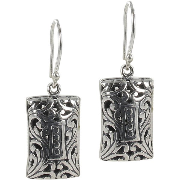 Sunstone Sterling Silver Filigree Rectangle Bali Drop Earrings