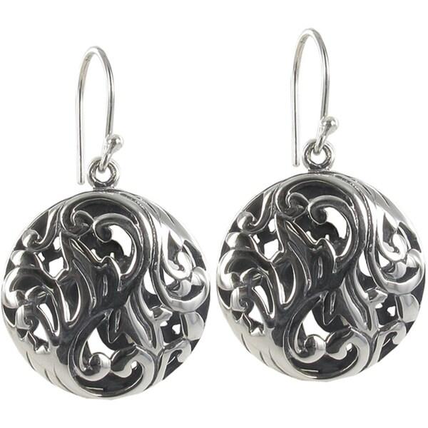Sunstone Sterling Silver Filigree Round Bali Drop Earrings
