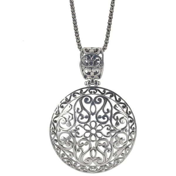 Sunstone Sterling Silver Filigree Round Bali Necklace