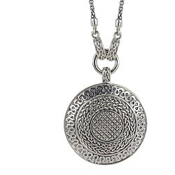 Sunstone Sterling Silver Bali Textured Round Necklace