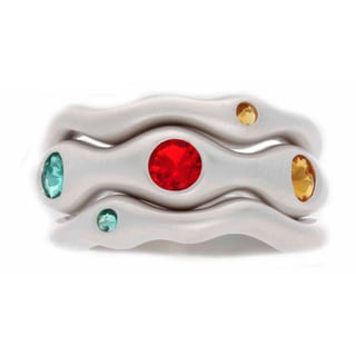 NEXTE Jewelry Red, Green and Yellow CZ 3-piece Stackable Ring Set