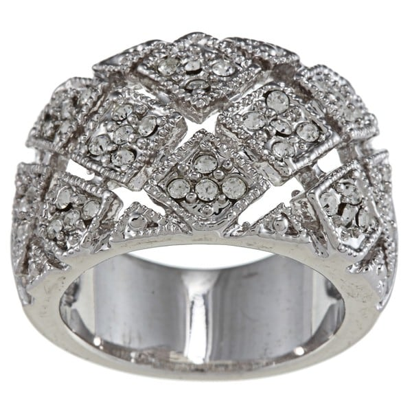 City Style Silvertone Brass Clear Crystal Woven Square Pave Ring