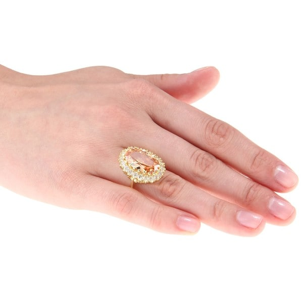 City by City City Style Goldtone Champagne and Clear Cubic Zirconia Flower Ring