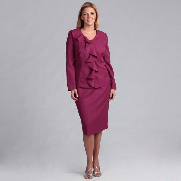 Danillo Women's Plus Cascading Ruffle Skirt Suit FINAL SALE