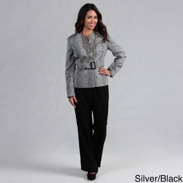 Danillo Women's Collarless Front Buckle Pant Suit