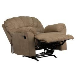 Contemporary Padded Saddle Microfiber Rocker Recliner