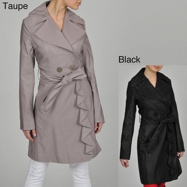TAHARI Evelyn Ruffle Trench Coat