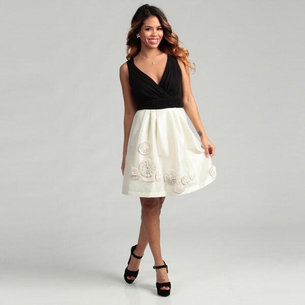 Max & Cleo Women's Rosette Accent Sleeveless Dress