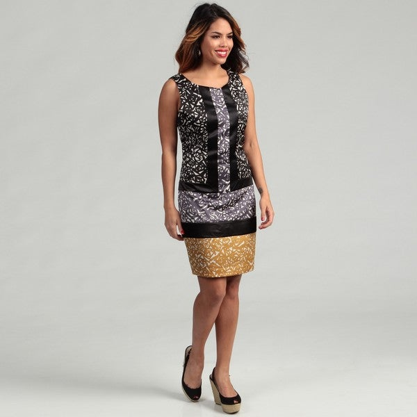 Max & Cleo Women's Asa Sleeveless Color-block Print Dress